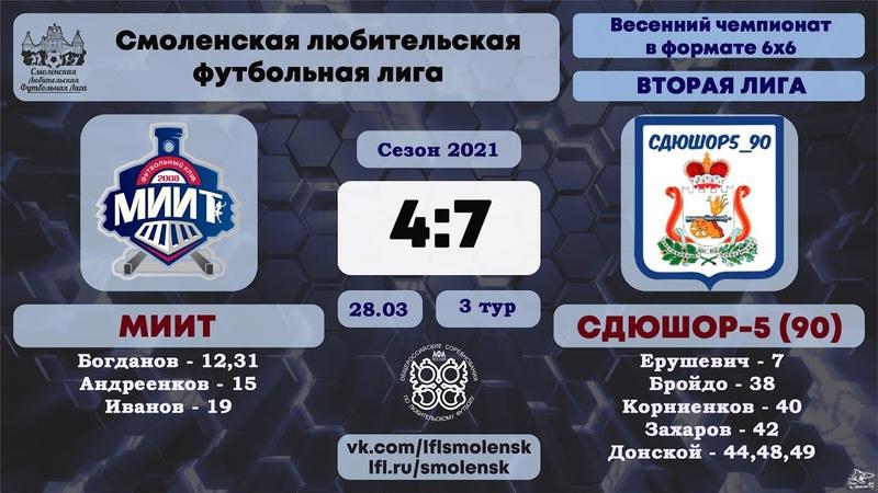Весенний сезон 6х6 2021 МИИТ СДЮШОР 5 90 4 7