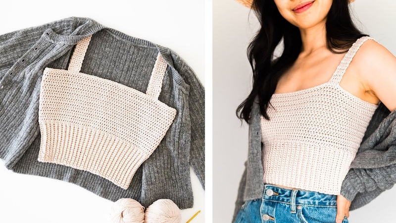 Simple Crop Top with Ribbed Hem - How to crochet a summer crop top DIY Tutorial! For The Frills