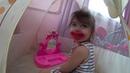 Нинель играет в детскую косметикуМама хотела сделать подарок на 8 марта, а Нинель нашла.