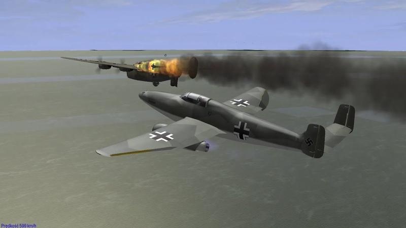 IL 2 1946 Aircombat Heinkel He 280 versus Consolidated B 24 Liberator