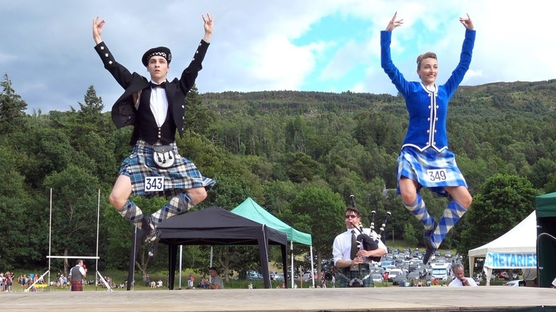 Great Highland Fling performance by competitors at Kenmore Highland Games in Perthshire, Scotland