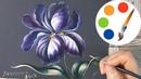 Zhostovo style by a filbert brush, Paint an Iris, Acrylic painting