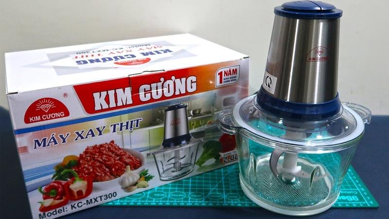Mở hộp xay thử máy xay thịt Kim Cương Dung tích 2L công suất 350W