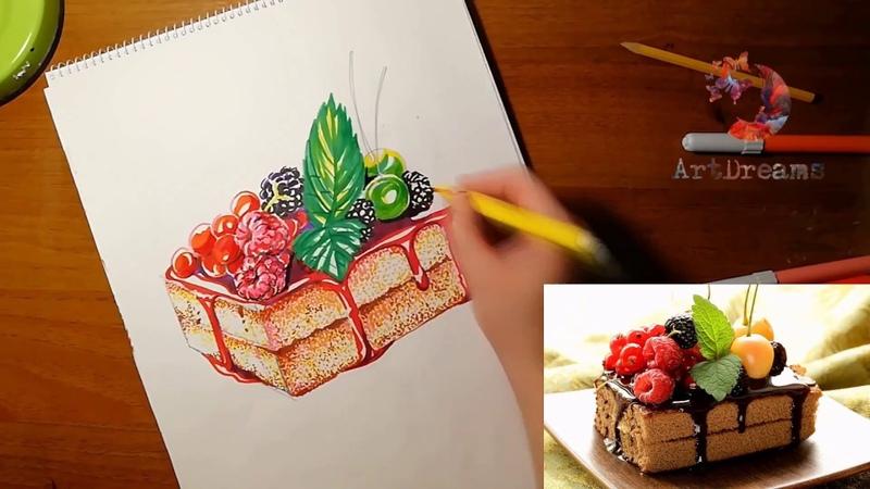 Рисуем пирожное маркерами. Food-sketching.