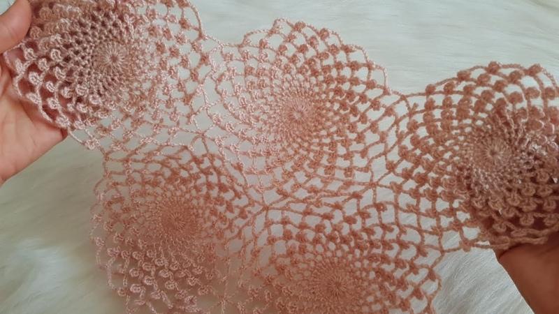 Ortanca Çiçeği Motifli Şal Modeli Yapımı Detaylı Anlatım - Örgü Modeli - Crochet Knitting