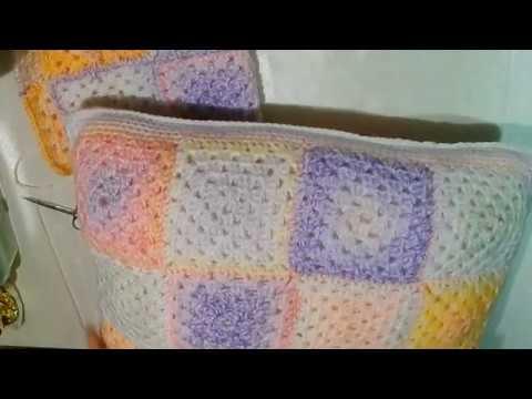 Декоративные вязаные подушки крючком Комплект подушки с пледом.МК. Авторская работа.