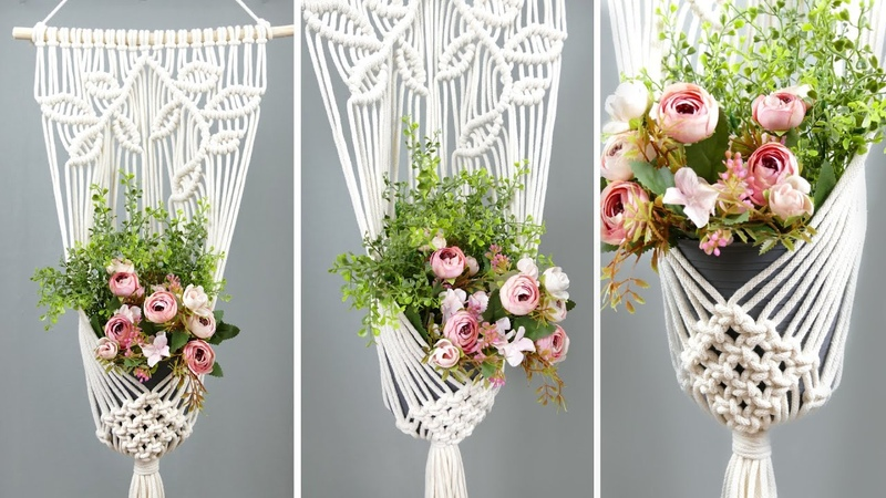 DIY Macrame Plant Hanger with Leaves | Flower Pot ideas