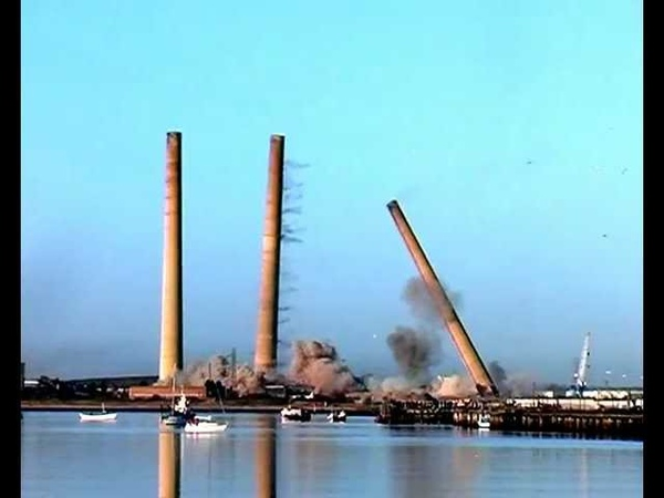 The fall of the 4 GIANT Blyth power station chimneys updated