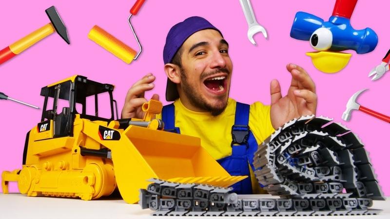 El bulldozer ha perdido su oruga ¡Oh se dañó Tractores de juguete para niños
